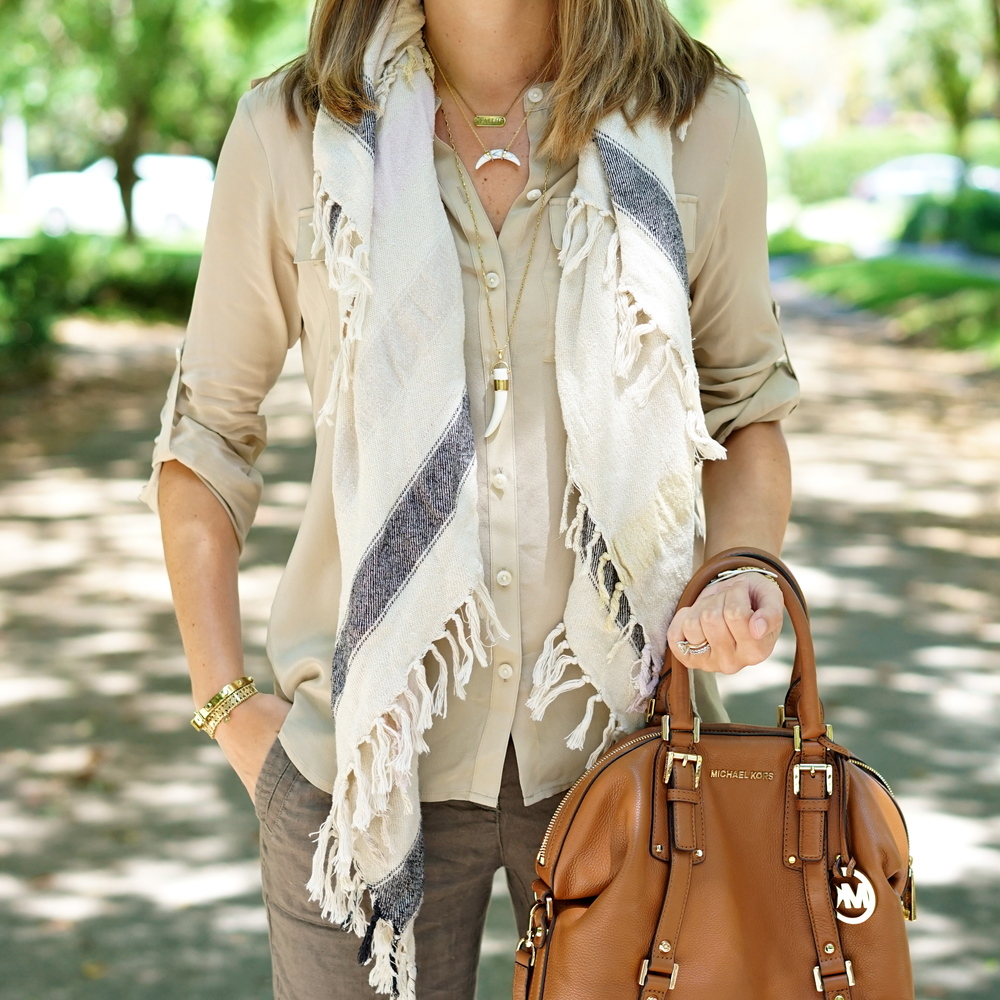 Linen pants, button front shirt, neutral scarf