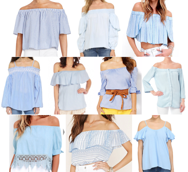 Blue off shoulder tops