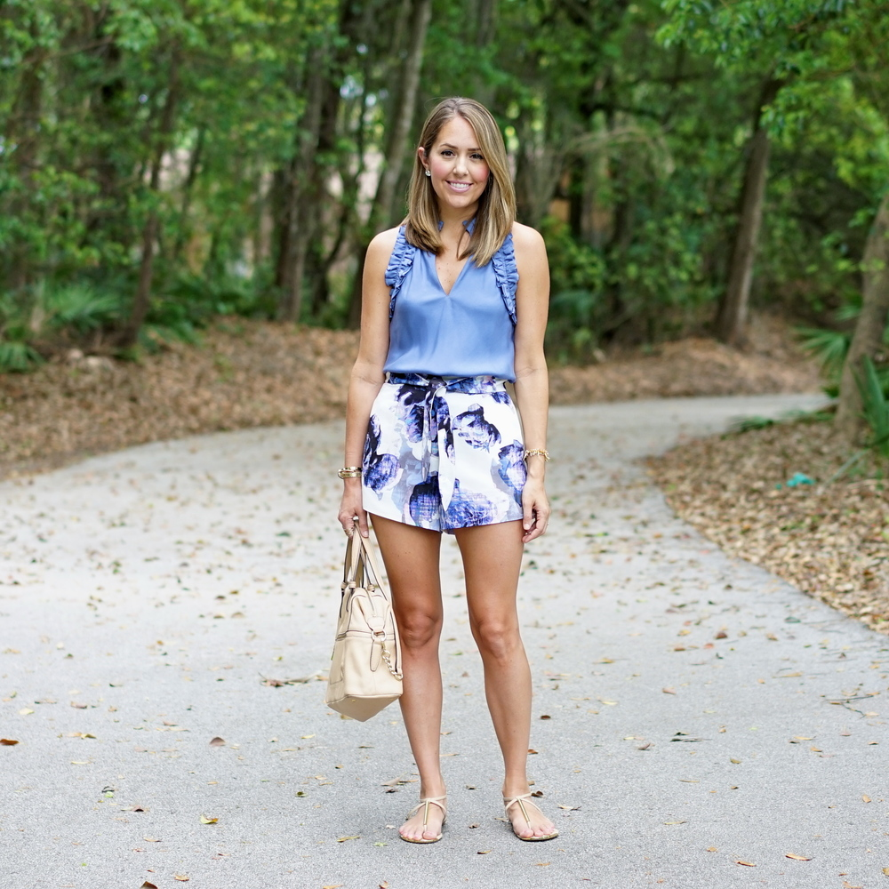 Periwinkle ruffle top, floral high waist shorts