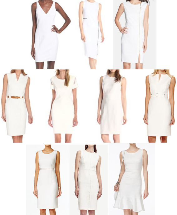 White sheath dresses on a budget