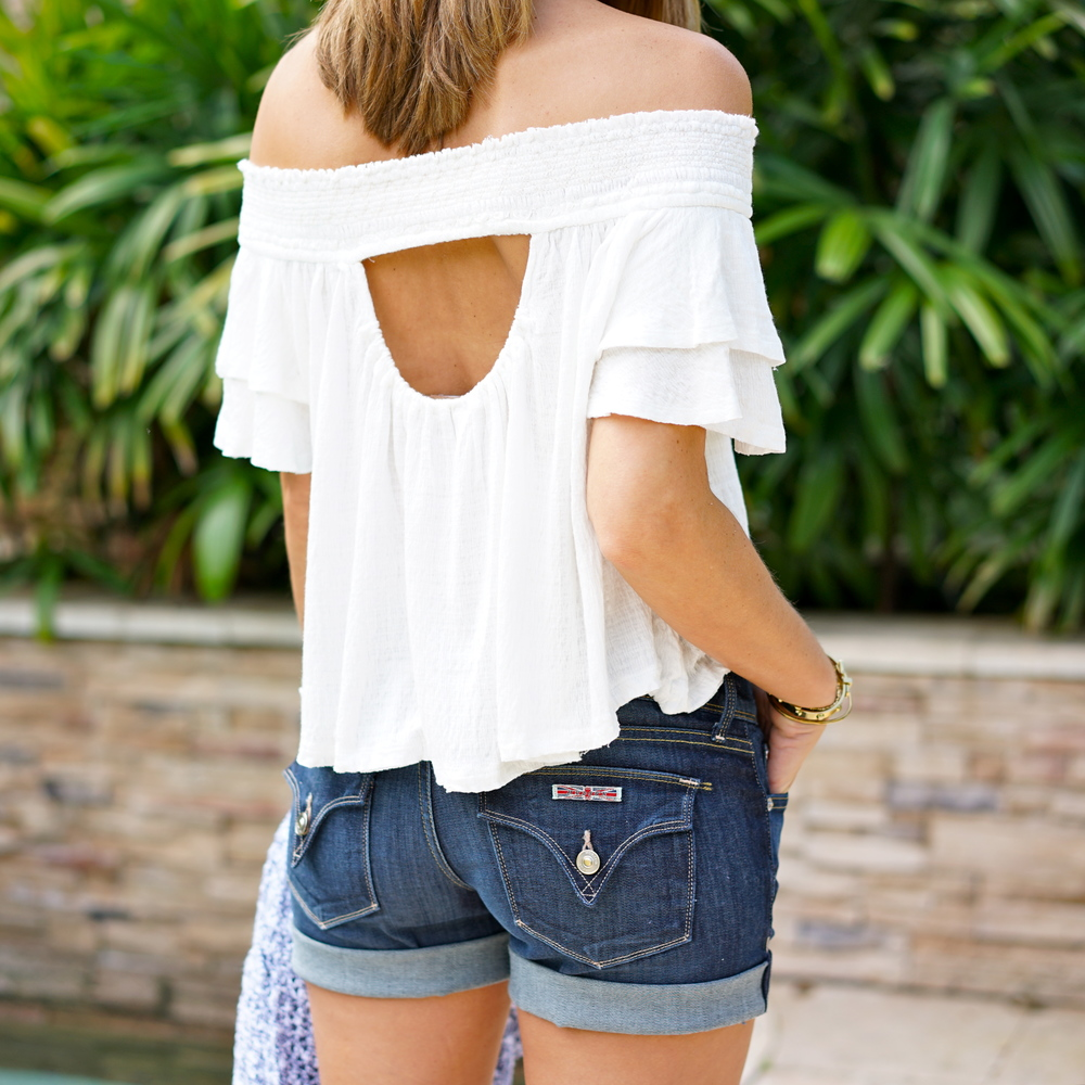 Off shoulder white top, Hudson jean shorts