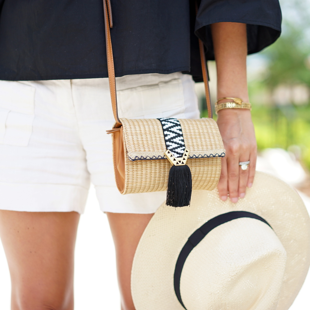 Stella & Dot purse, ivory cargo shorts