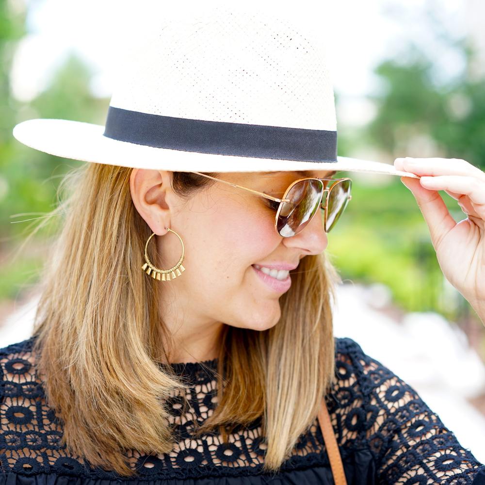 Panama Hat, Stella & Dot earrings