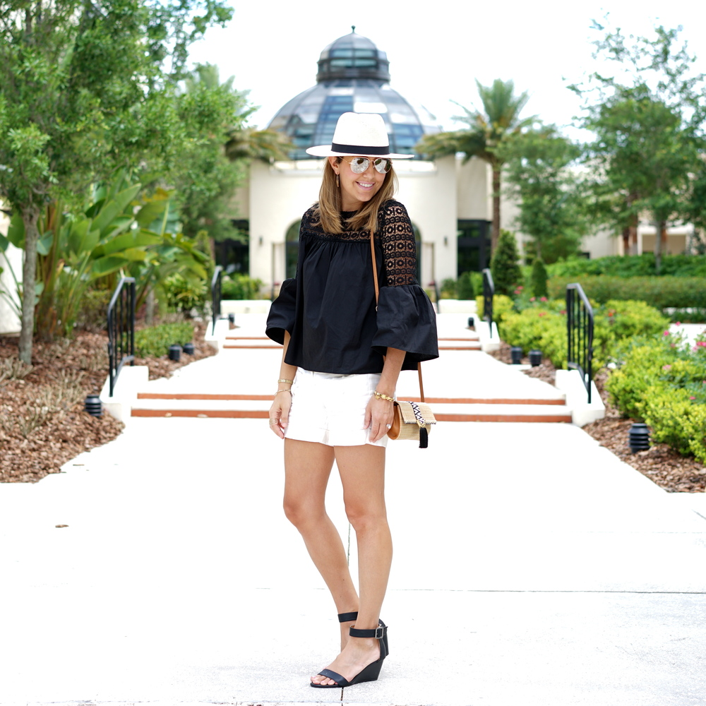 Bell sleeve top, Panama hat, ivory shorts