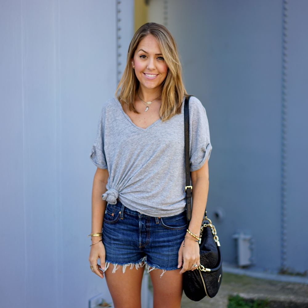 Gray v-neck tee, Levi's denim shorts