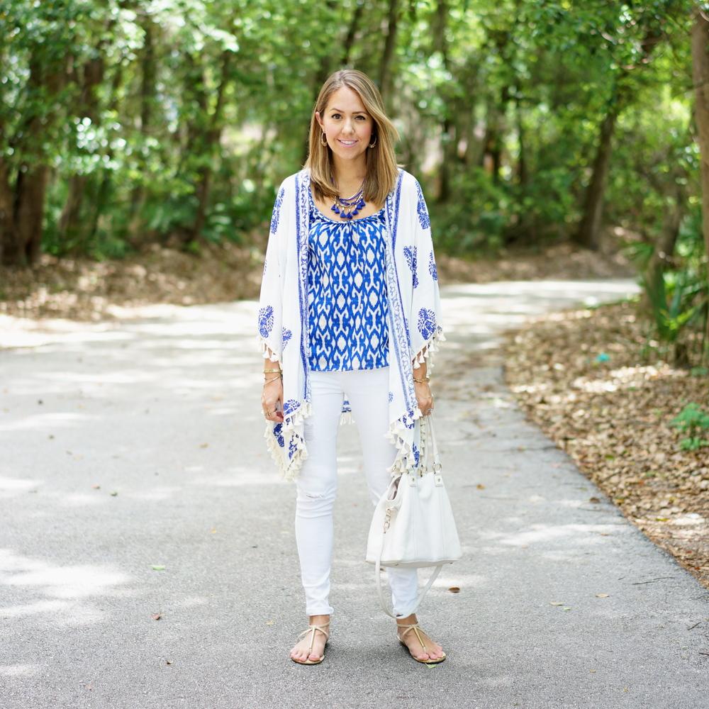 Blue kimono cardigan, white jeans