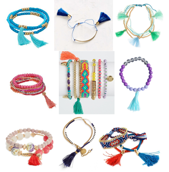 Tassel and beaded bracelets under $25