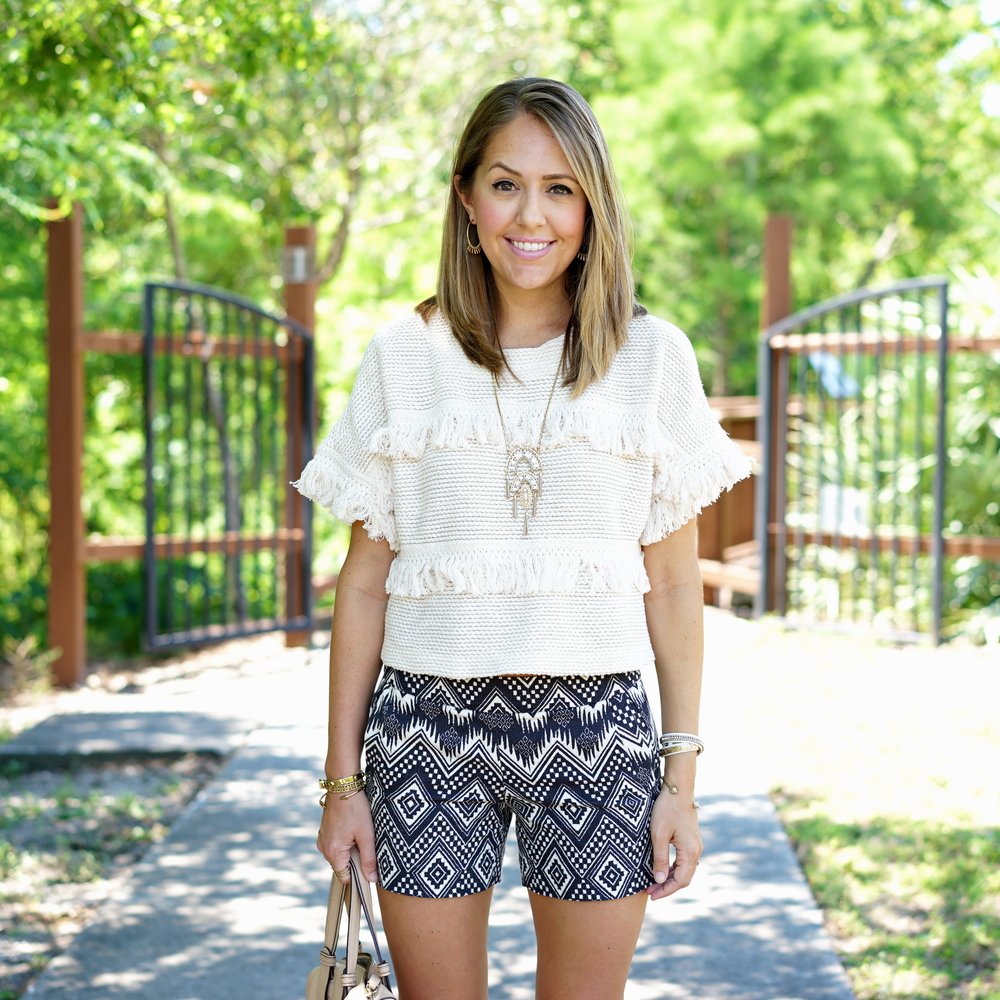 Fringe sweater, tribal blue shorts