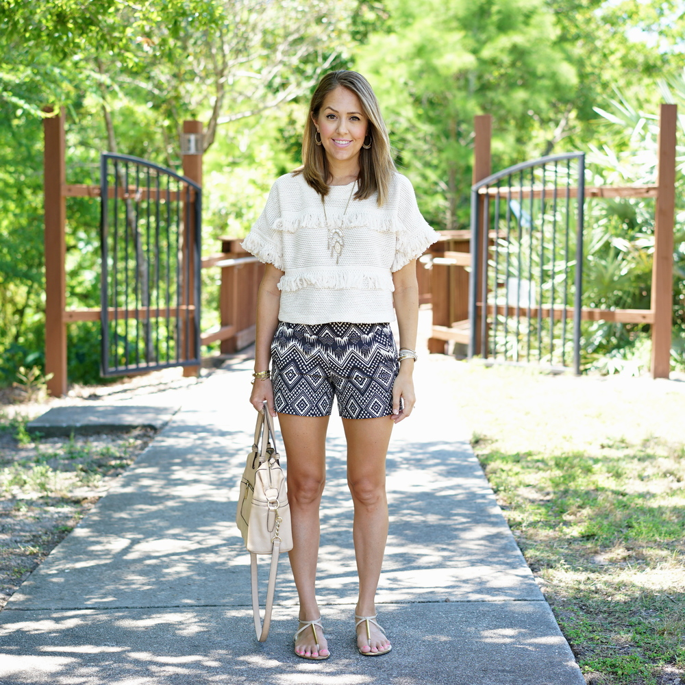 Fringe sweater, printed navy shorts