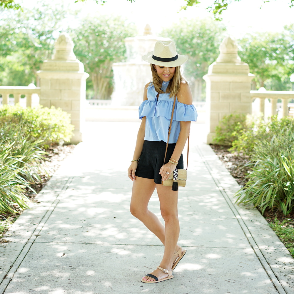 Cold shoulder ruffle poplin top, black shorts, Panama hat
