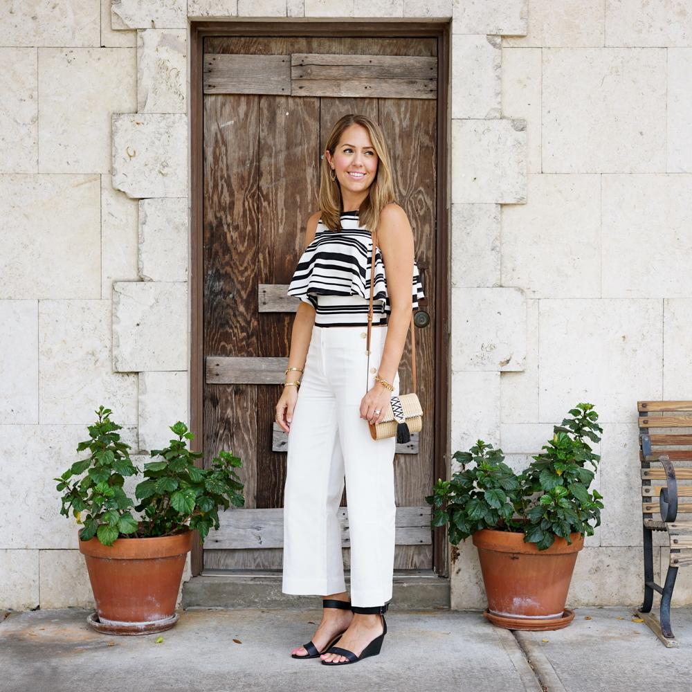 LOFT sailor crop pants, JOA striped crop top