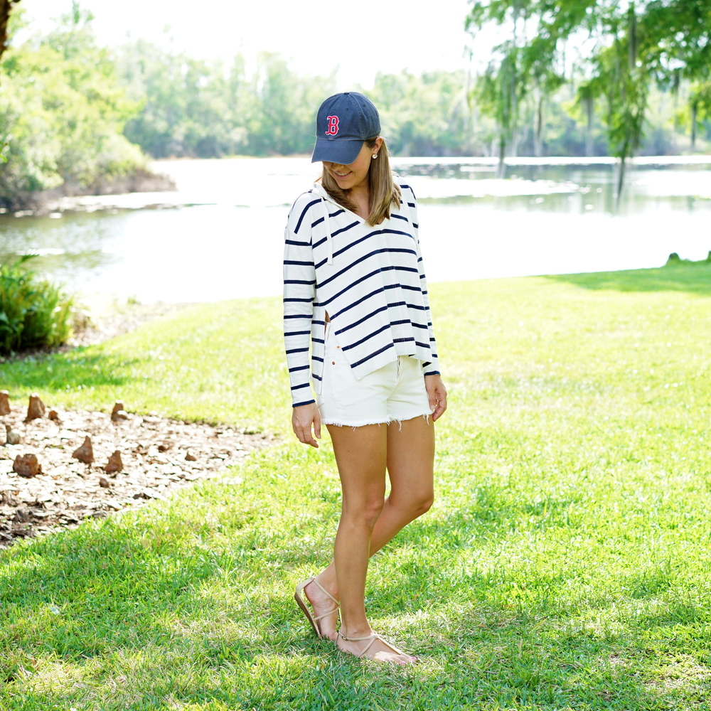 Striped hoodie, white denim shorts