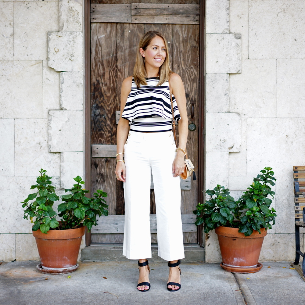 Striped crop top, ivory culottes