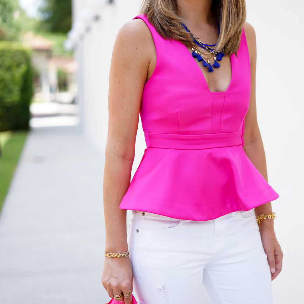 Hot pink peplum, cobalt tassel necklace