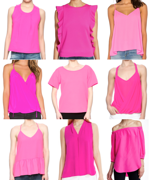 Hot pink tops on a budget