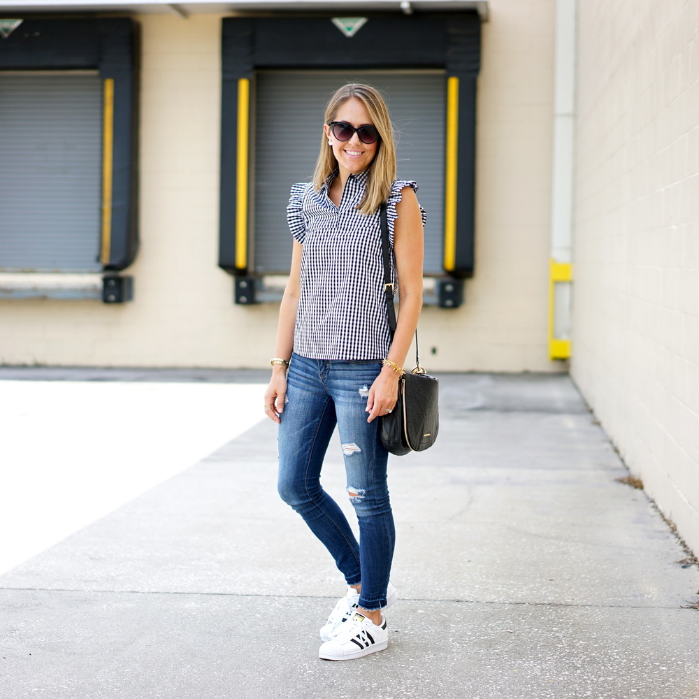 Gingham top with ruffle sleeves, Adidas sneakers