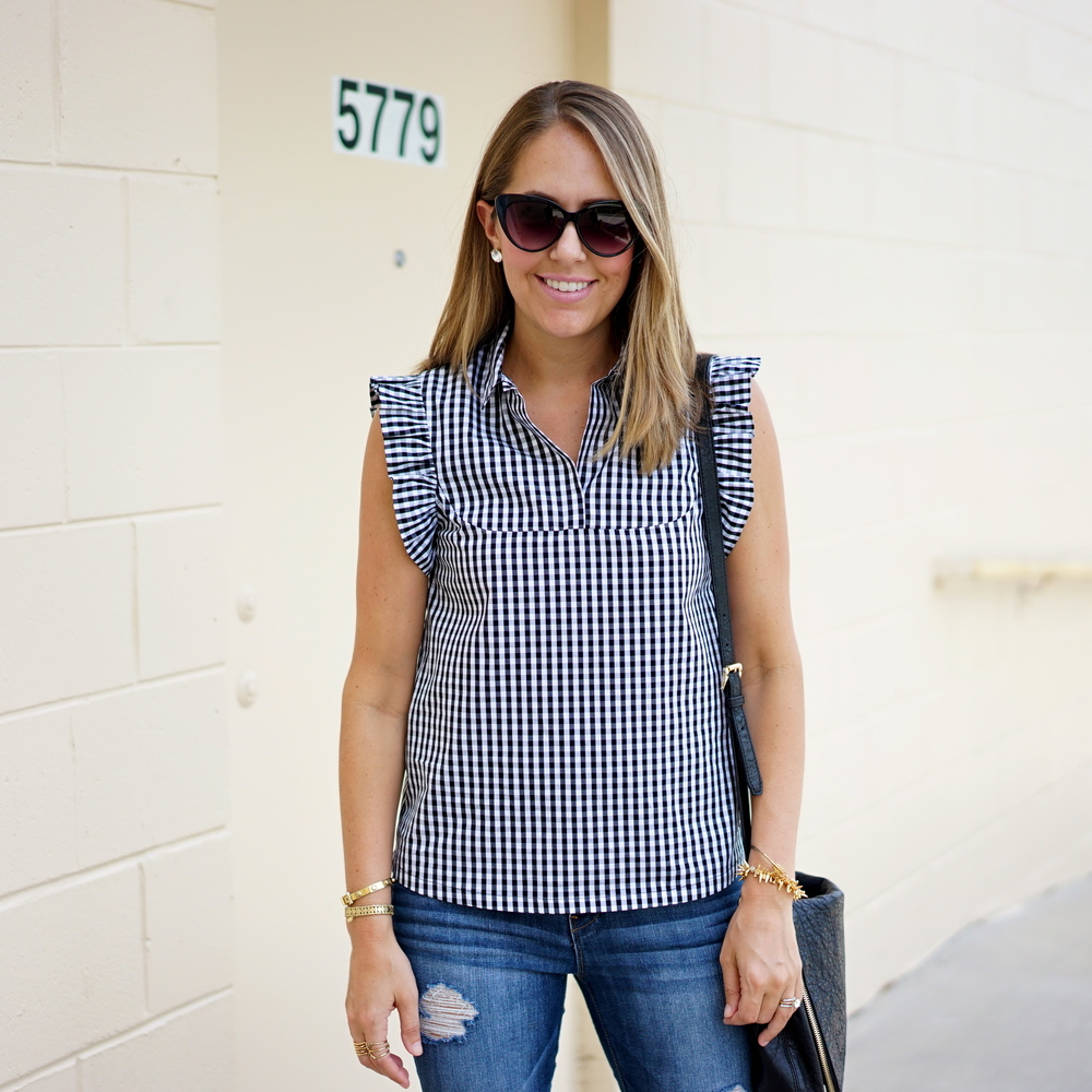 Gingham top with ruffle sleeves