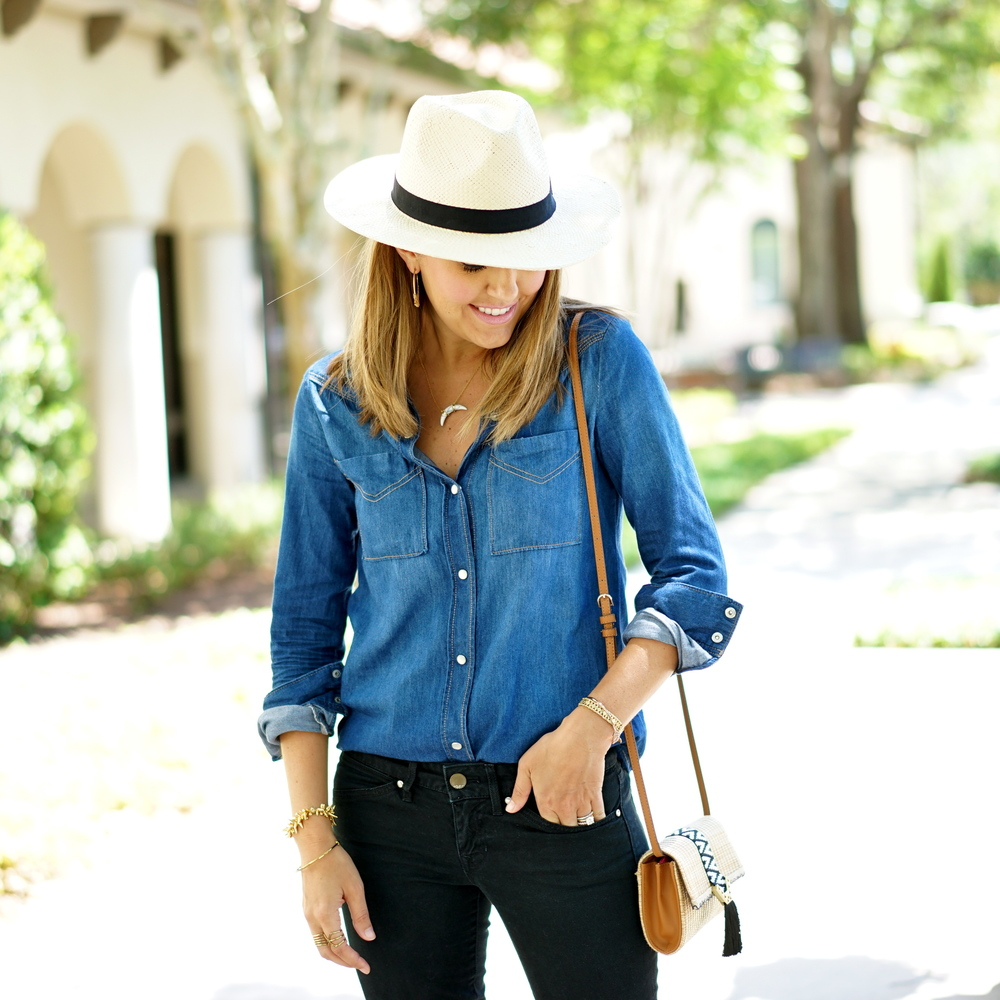Panama hat, chambray top, black jeans