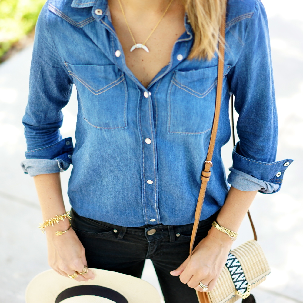 Chambray top, black jeans, Panama hat