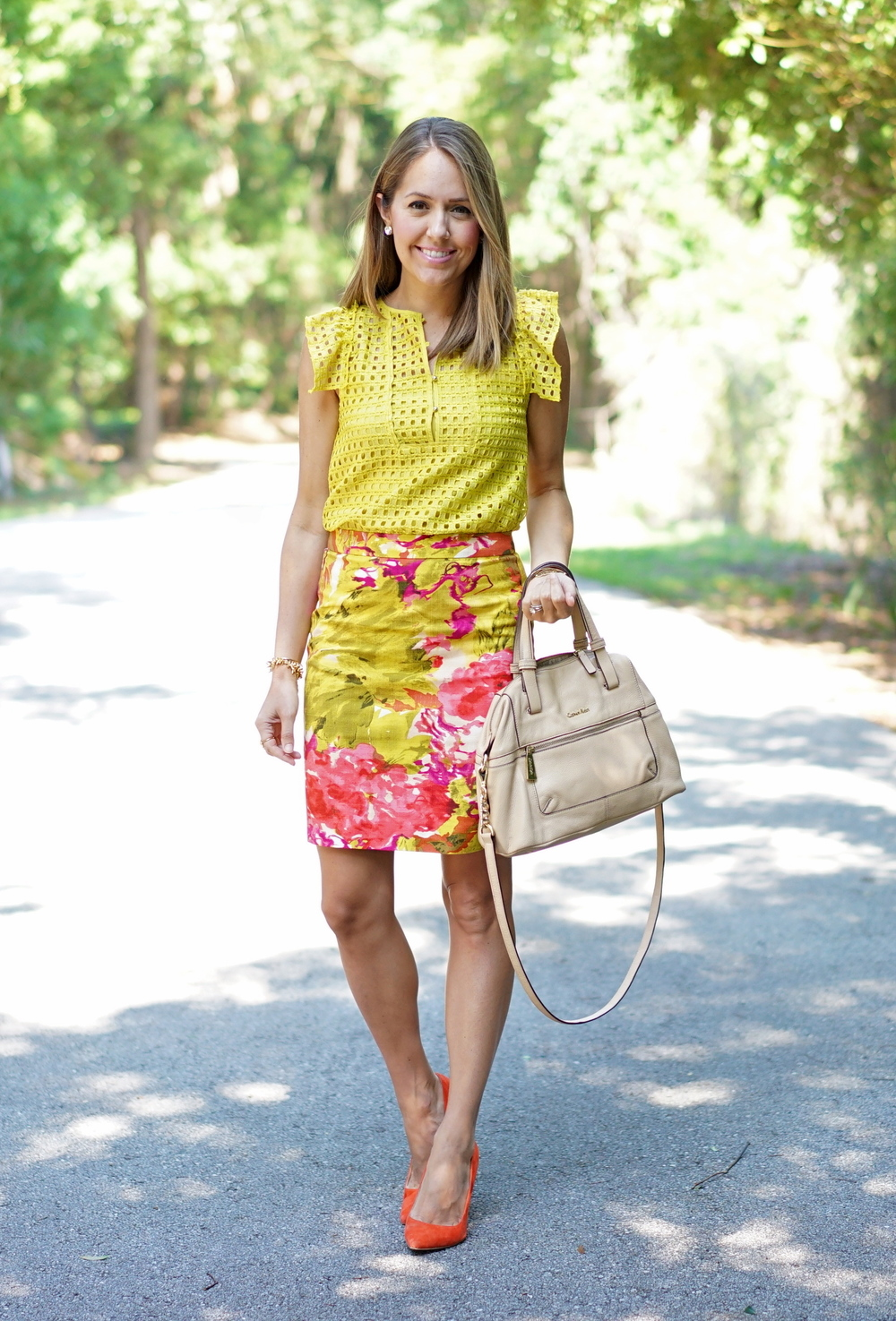 Yellow eyelet shirt, floral pencil skirt, orange heels