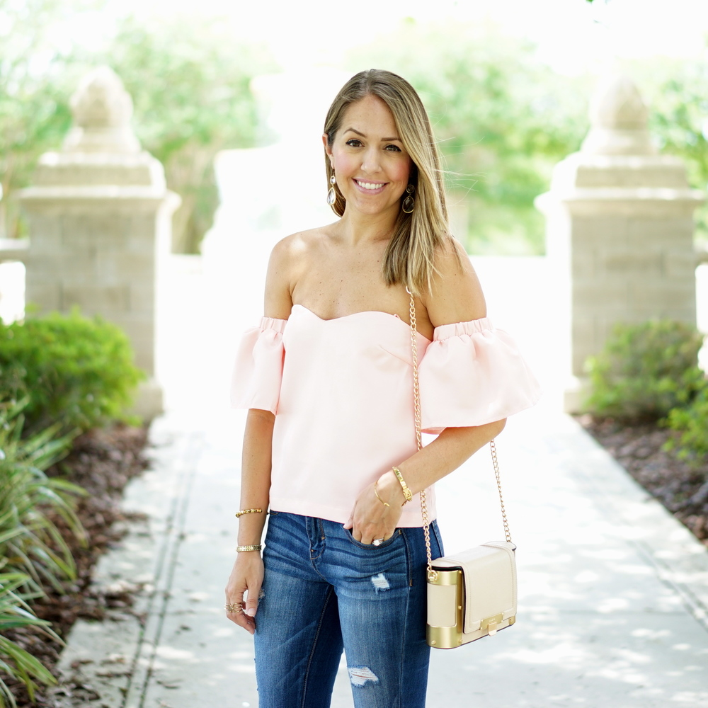 Blush pink off shoulder top