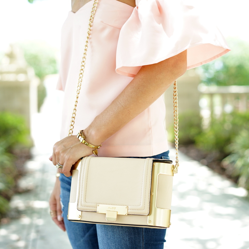 Ruffle sleeve blush pink top