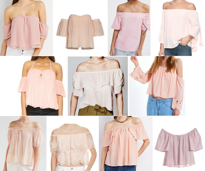 Blush off pink shoulder tops under $125