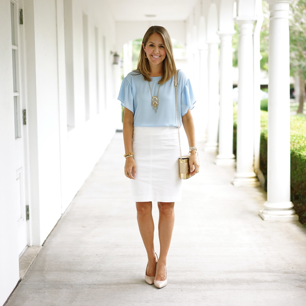 Baby blue ruffle sleeve top, white pencil skirt