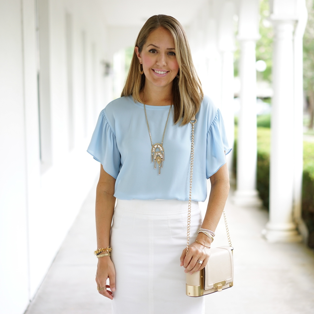 Baby blue top, white pencil skirt