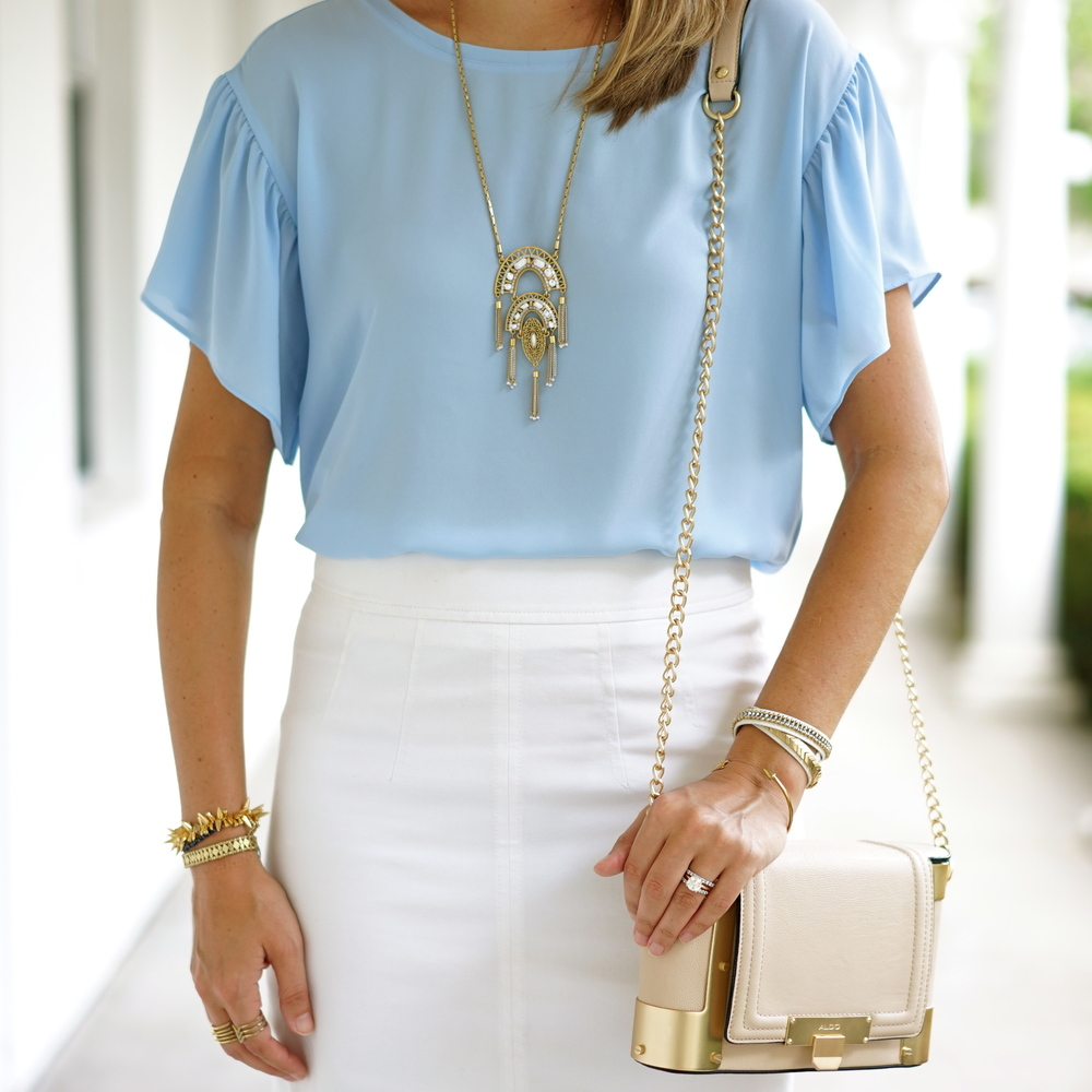 Ruffle baby blue top, white pencil skirt