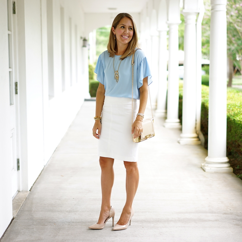Ruffle sleeve baby blue top, white pencil skirt
