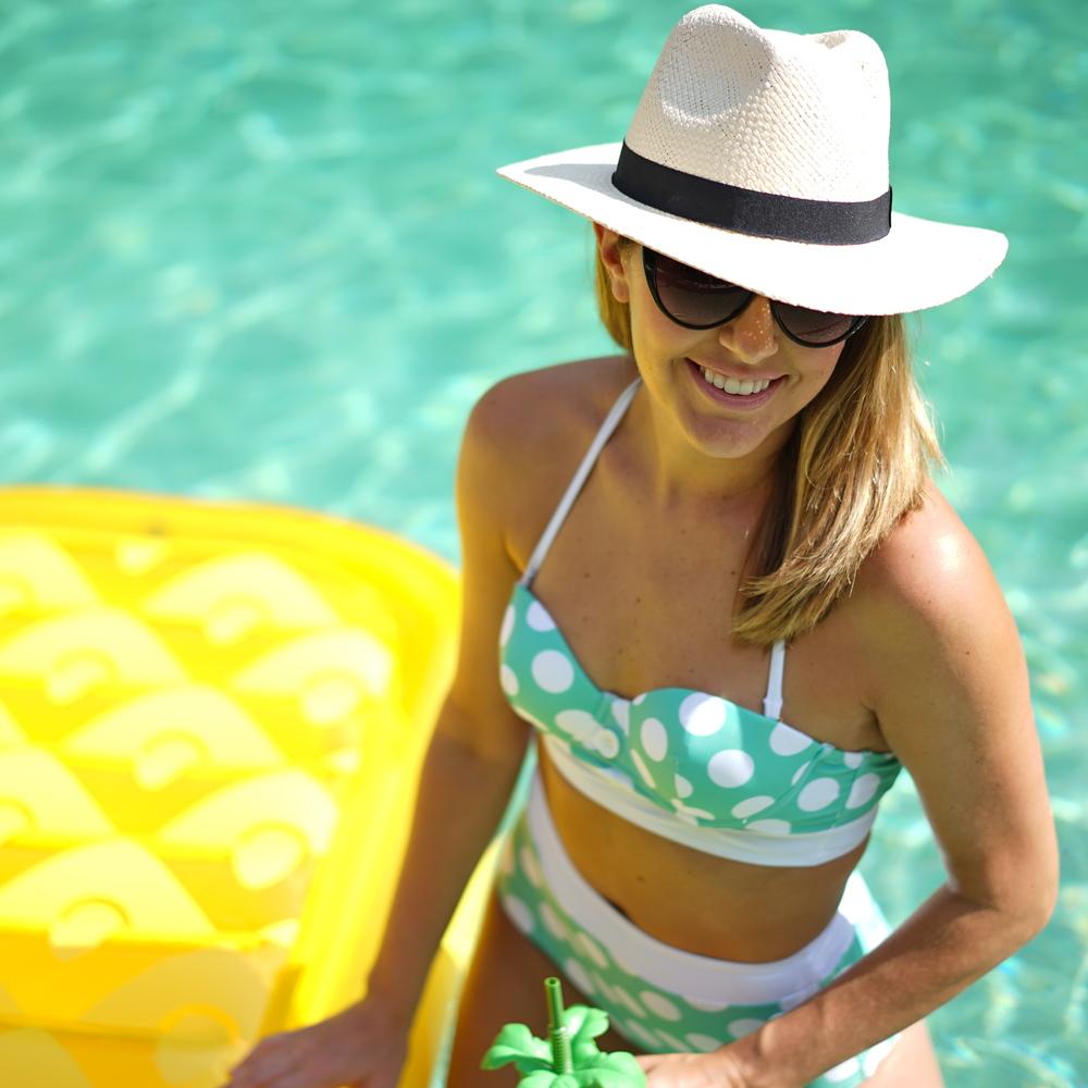 Polka dot high waist swim suit