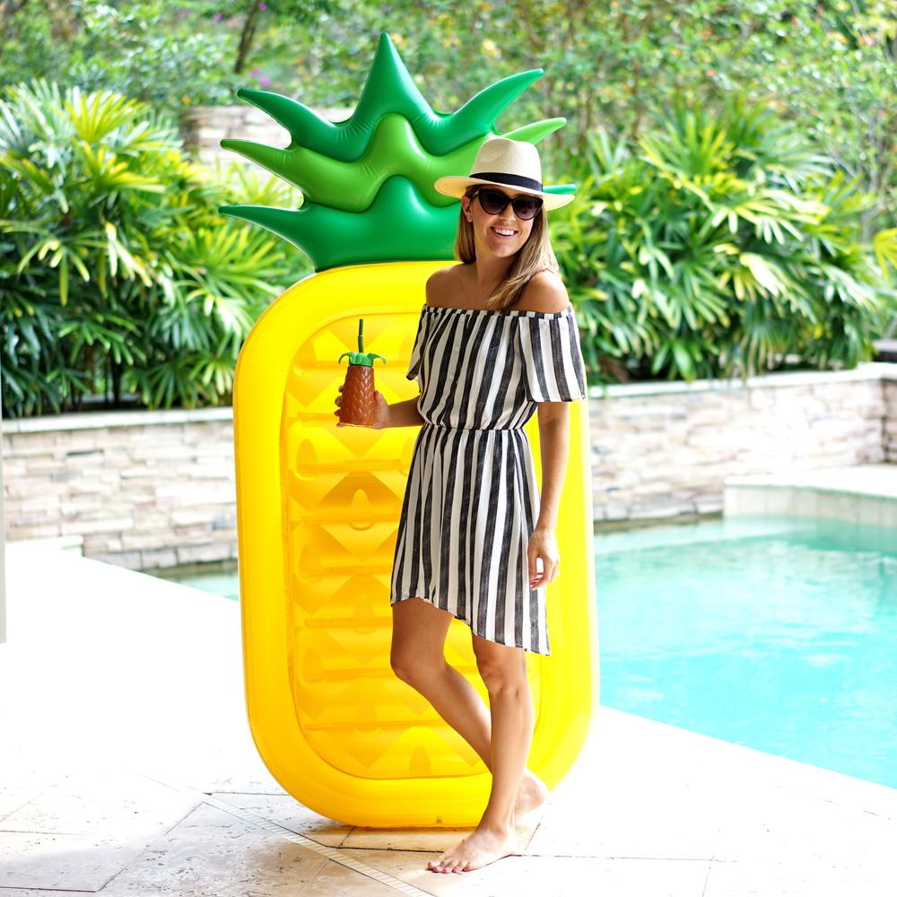 Striped off shoulder dress, pineapple pool float