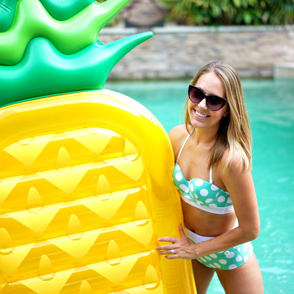Polka dot high waist swim suit, pineapple pool float