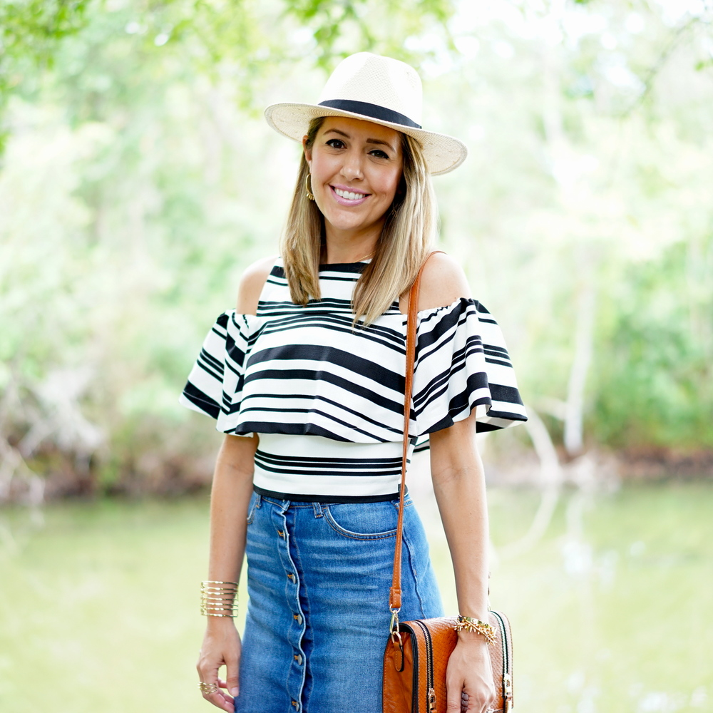 Striped ruffle tops, denim skirt, Panama hat