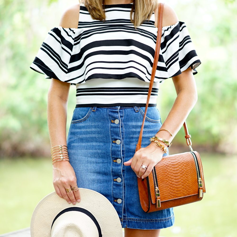 Striped ruffle top, denim skirt, panama hat