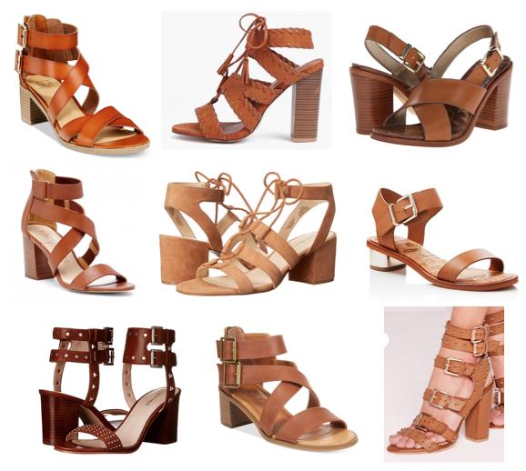 Cognac block heels