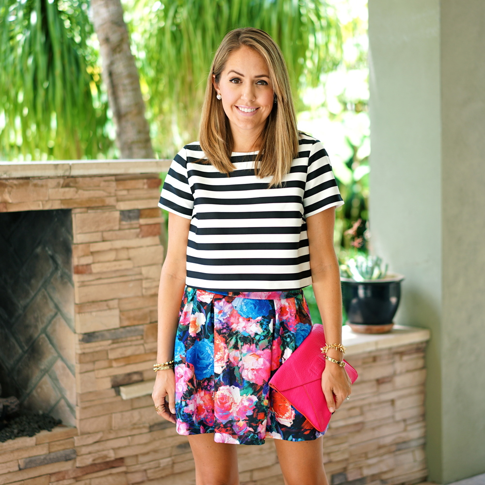 Stripe top, floral skirt, hot pink clutch