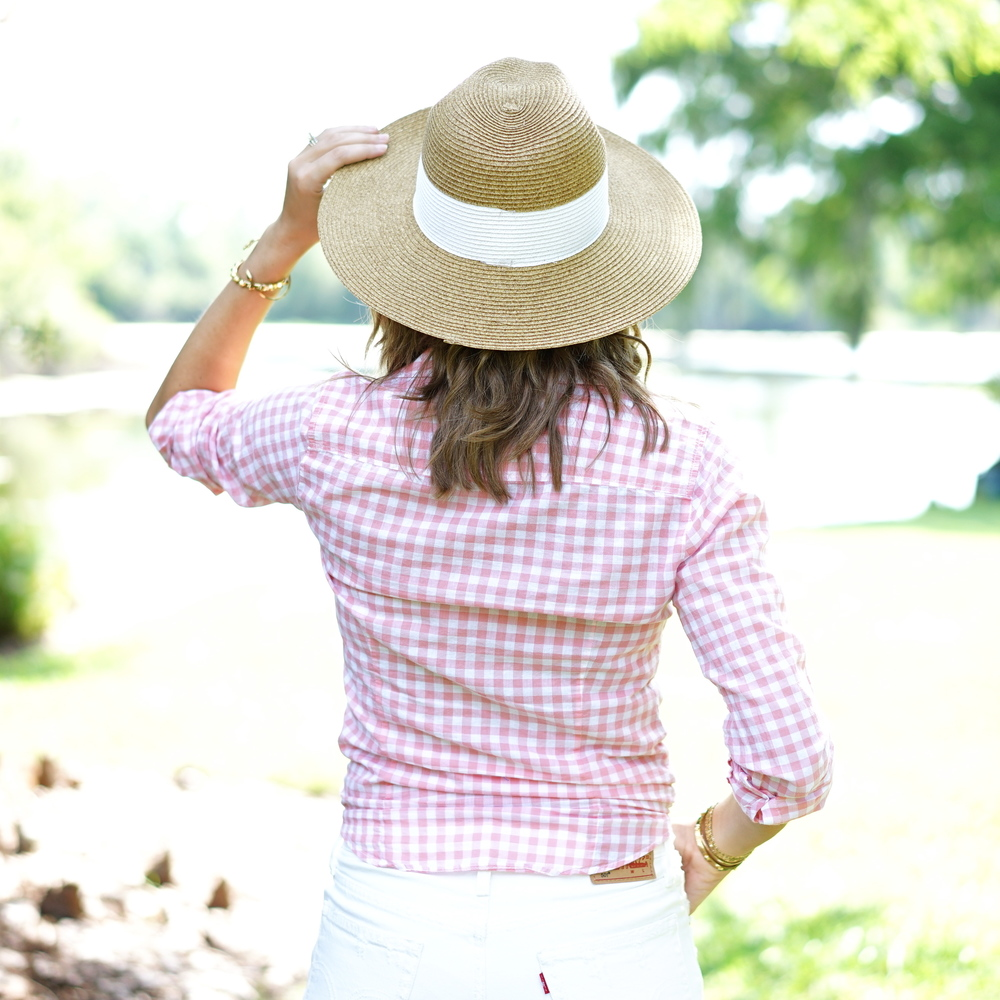 Pink gingham shirt, straw hat