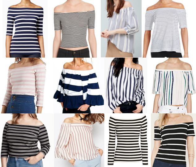 Stripe off shoulder under $100