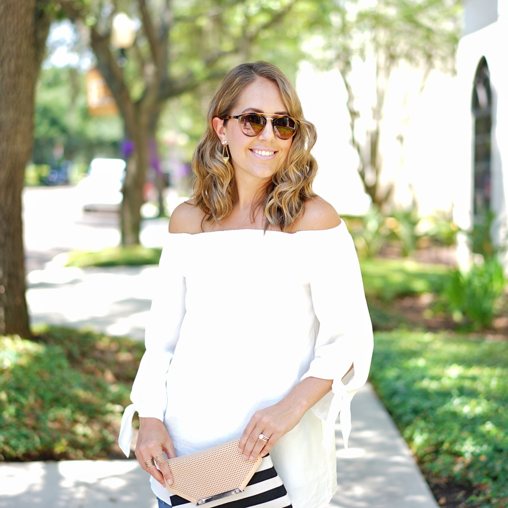 White off shoulder tie sleeve top
