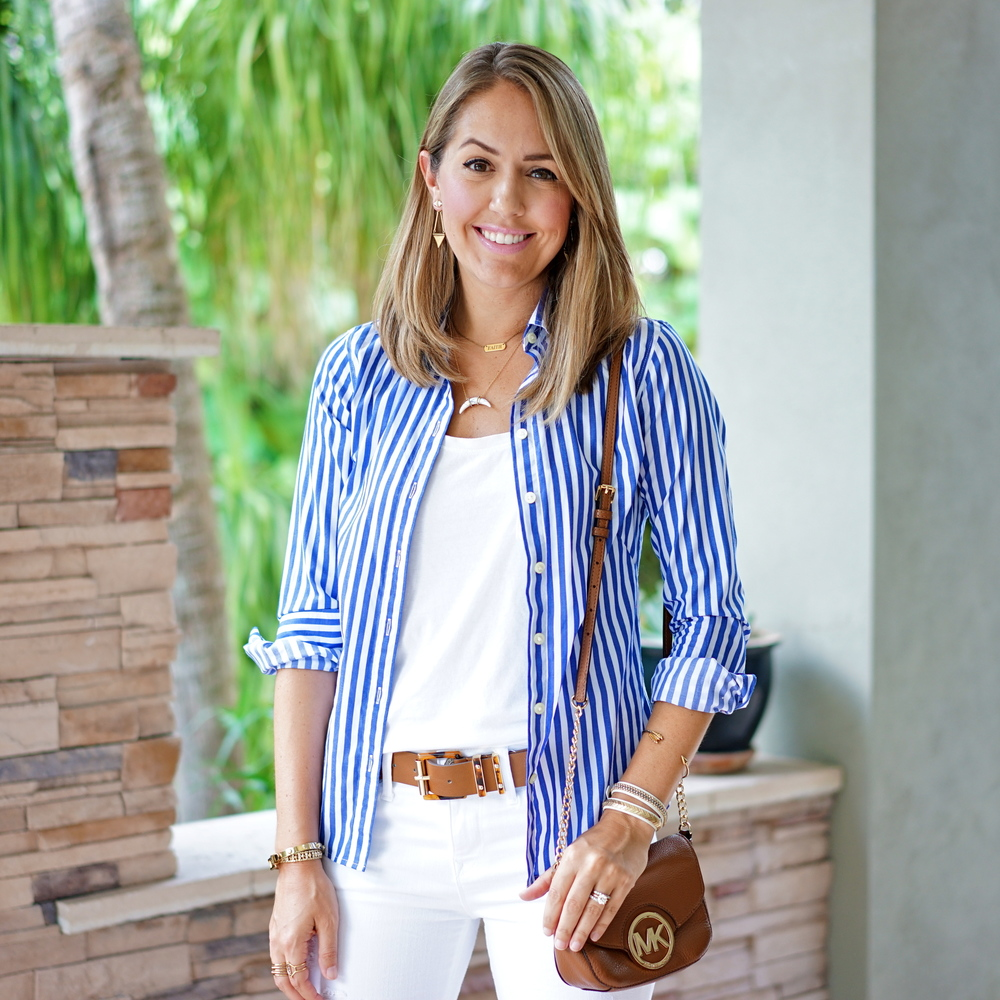 Open button front shirt, white jeans, cognac accessories