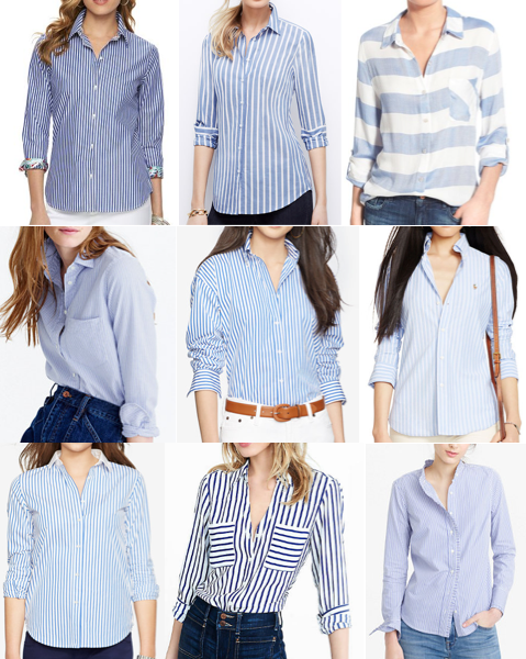 Blue stripe button front tops under $100