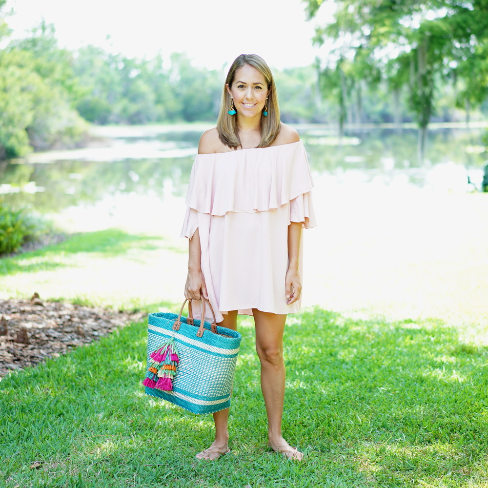 Blush pink off shoulder dress, turquoise straw tote