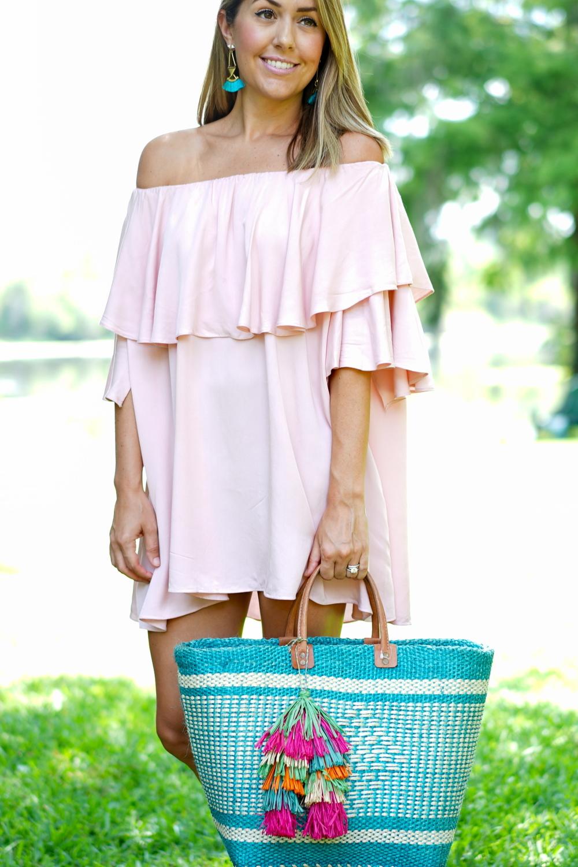 Blush off shoulder dress, straw beach tote