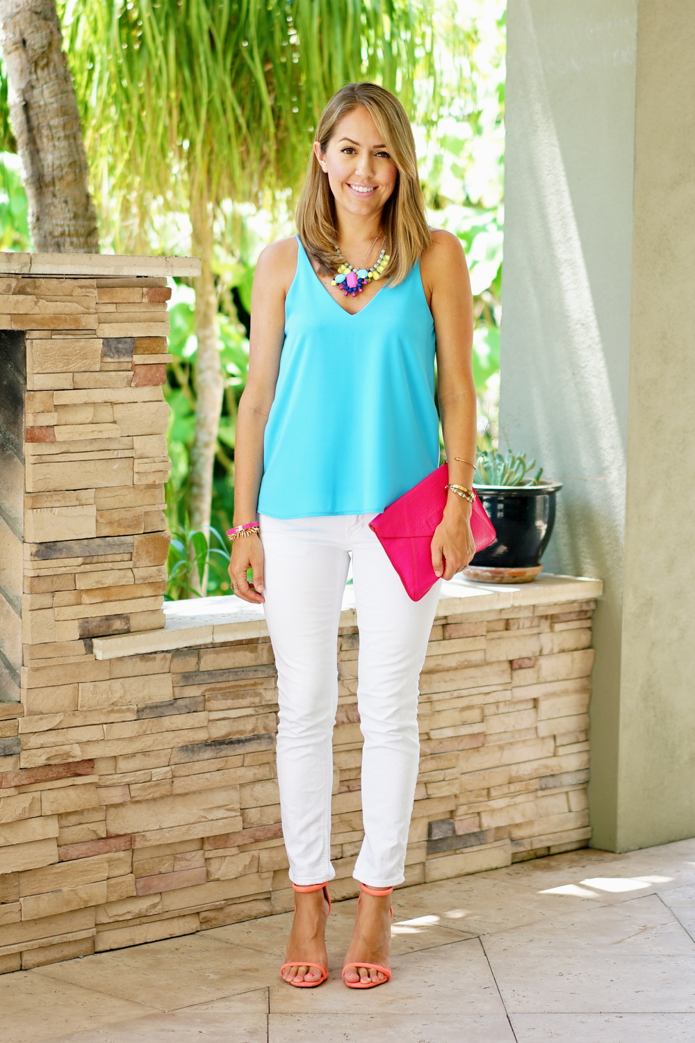 Electric blue tank, white jeans