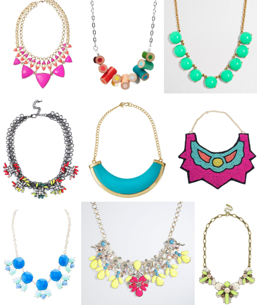 Colorful bib necklaces on a budget