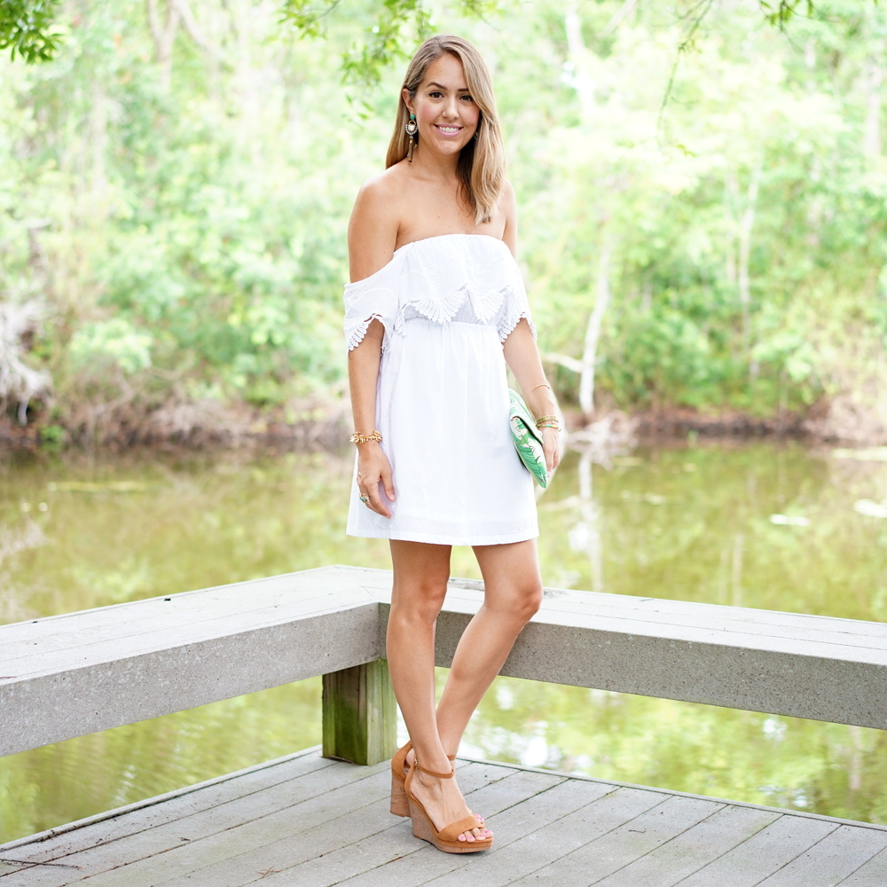 White off shoulder dress, nuetral wedges