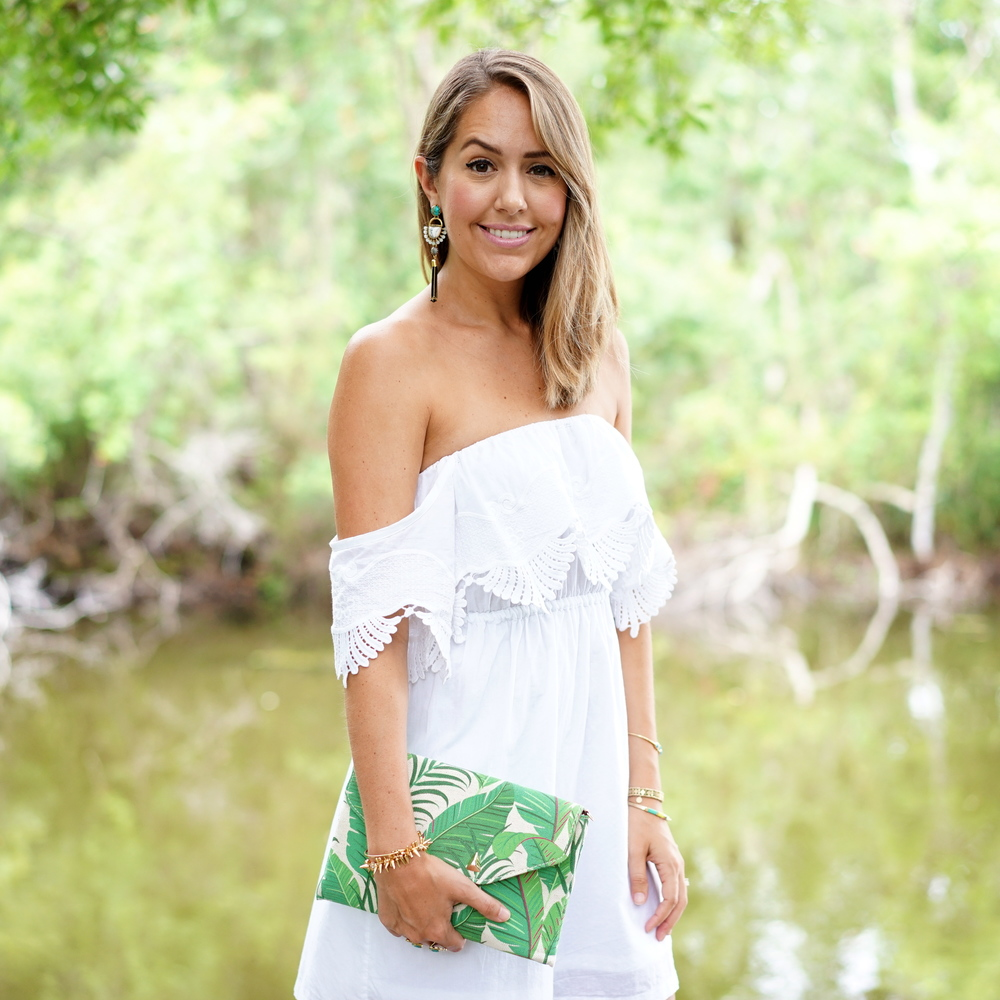 White off shoulder dress, palm print cltuch