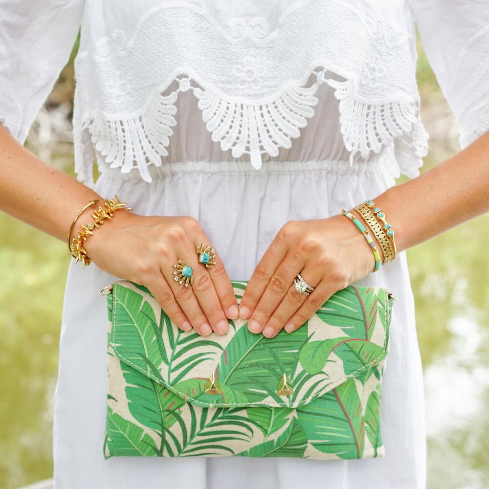 Palm print clutch, turqouise jewlery